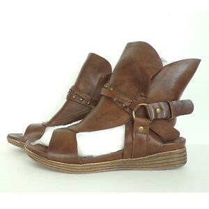PIERRE DUMAS Sandals Size 7 Brown High Ankles Gladiator Manmade NEW Shoes