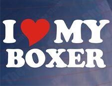 Me love/heart mi boxeador Novedad car/van/window / parachoques calcomanía / etiqueta adhesiva para los propietarios de perros