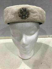 Womens Handmade 1950s Vintage Navy Blue & White Felt Pillbox Hat w/ Front Gem J1