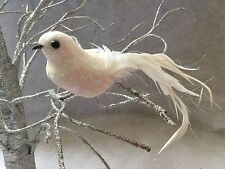 20cm White Glitter Clip On Bird Decoration Wedding Christmas Tree Vintage