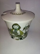 FIGGJO TURI D TURI DESIGN MARKET GREEN CHINA SUGAR/PRESERVE  BOWL and LID USED