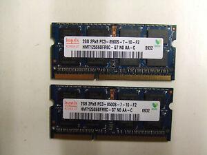 4GB DDR3 Laptop RAM Memory - 2 X 2GB  DDR3-1066 SODIMM PC3-8500S Hynix