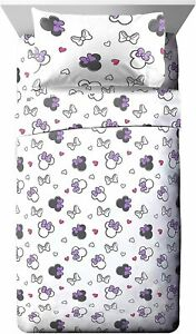 Disney Minnie Mouse Purple Bows 3 Piece Twin Sheet & Pillowcase Set