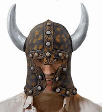 Hombre CASCO VIKINGO & Cuernos LARP Despedida De Soltero Disfraz Látex Warrior