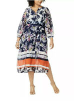 NWT Taylor Woman Plus Size 24W Navy Blue Semi Sheer Floral Tie Front Midi Dress