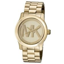 a250443f0583 New Michael Kors Runway Gold Stainless Steel Logo MK5473 Women s 45mm Watch