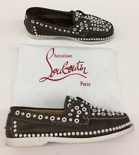 $950 Christian Louboutin Roller Boat Brown White Shoes Spike Mens 41.5 / 8.5 us