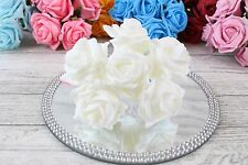 2 Bunches Colourfast Foam Rose Bouquet Wedding Artificial 6 Flowers 35 Colours Apricot