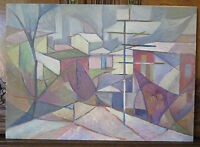 Landscape Urban Style Cubist Painting Antique Painting Oil Board Signed p15