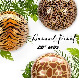 "Animal Balloons Orbz Balloons 22"" Sphere Animal Print Orb HELIUM Foil Balloon"