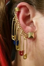 NEW Harley Quinn Glitter Embellished Safety Pin Earrings!