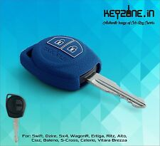KeyZone Silicone Key Cover fit for Suzuki Ciaz, Baleno, S-Cross, Celerio (Blue)