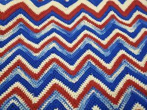 "Vintage Crochet Afghan Throw Blanket Zig Zag Chevron 65"" x 70"" Red White Blue"
