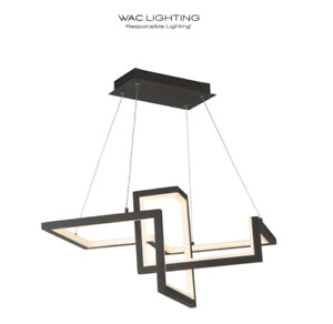 """Wac Lightining Minecraft 23"""" Wide LED Abstract Chandelier PD-17023-BK"""