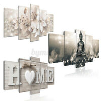 5 Panels Home Buddha Flowers Art Prints Picture Canvas Wall  Unframed For Decors