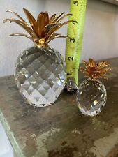 "Set Retired Large Swarovski Crystal Pineapple Gold Hammered Leaf 4"" paperweight"