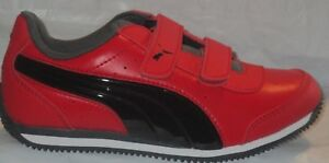 BOY'S PUMA SPEED LIGHTUP POWER V INF RIBBON RED-BLACK-IRON GATE SHOES SIZE 7C