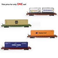 One Set HO Scale 52ft Flat Car 40ft Shipping Container Carriage 1:87 Flatbed