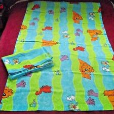 Big Blue Bear Curtains Jim Henson Drapes Panels Pair Window Vintage Fabric CRISP