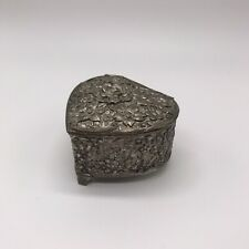Vintage Pewter Heart Shaped Trinket Jewelry Box Floral Flowers