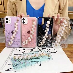 for Xiaomi Girly Phone Cases Bling Pearls wristband for Women Protective Covers
