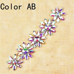 1X Rhinestone Applique Crystal Diamante Flower Short Chain Trimming Decor Sew On