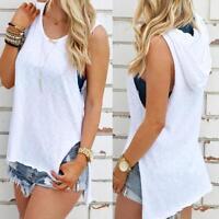 Fashion Women Summer Hoodie Tank Top Sleeveless Vest Blouse T-Shirt Cotton Tops