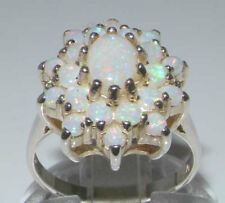 Solid 925 Sterling Silver Natural Australian Opal Cluster Flower Ring