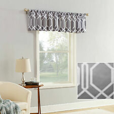 "Gray & White Textured Geometric Print Window Valance Decor, Modern 54""x17"" - NEW"
