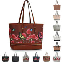 Extra Large Floral Women Tote Faux Leather Designer Handbags Ladies Shoulder Bag