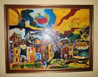 Mid Century Modern Abstract Expressionist Cityscape Oil Painting Artist Signed