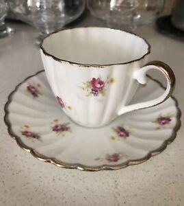 Vintage Jason Tea Cup & Saucer Floral  Bone China  Made In England Pink, Purple