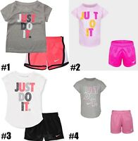 New Nike Little Girls 2 Piece Shirt and Shorts Choose Size & Color MSRP $36