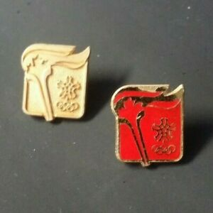 Olympic Pin: Calgary Olympic Pins 1988 Calgary Olympic Torch Relay Pins Gold Red