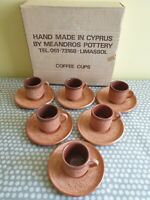Meandross Studio Pottery Limassol Cyprus. Hand Made Rustic Espresso Coffee Set