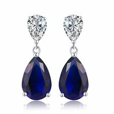 Diamond Treats 925 Sterling Silver Earrings Sapphire Drop Earrings Cubic Zircon