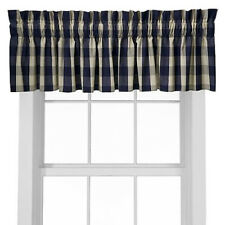 "The Woods Valance Plaid 88"" x 15"" Gingham Navy Tan Country Cottage Check Kitchen"