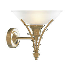 Searchlight 5227AB Linea Antique Brass Wall Light Twist Centre & Dome Opal Glass
