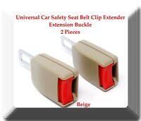 Beige 2 Pieces Universal Car Safety Seat Belt  Clip Extender Extension Buckle