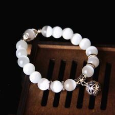 white cat eye beads bracelet with lucky pendant charms strand women bracelet ATA