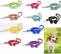 Suede Leather Dog Collar Leads Rhinestone Diamante Soft Bow Tie Cat Puppy Pet UK