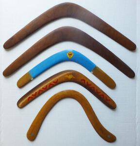 Vintage returning WOOD BOOMERANG collection AUSTRALIAN Hawes Aboriginal 5 pc lot