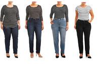 Terra & Sky Women's Plus Size Stretch Classic Straight Leg Jeans Tummy Control