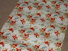 VTG CHRISTMAS STORE WRAPPING PAPER GIFT WRAP 2 YARDS SANTA PLAYING WITH REINDEER