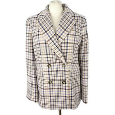 NEW BNWT £69 M&S Size 12 Cream Ivory Blue Beige Check Double Breasted Jacket