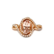 Natural Pink Morganite & White Topaz Twisted Rose Gold over Silver Cocktail Ring
