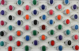 35pcs Wholesale Lots Mixed Color Enamel Jewelry Mens Alloy Rings Free Shipping