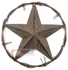 Rustic Metal Texas Barn Star Wall Mounted Twisted Barbed Wire Ring 12 1/4 inches