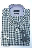 Hugo Boss Men's Obert Regular Fit Black Plaids Cotton Casual Dress Shirt XL