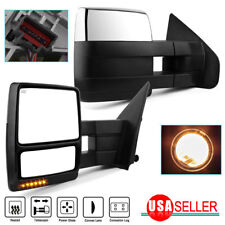 For Left+Right 07-14 Ford F150 Power+Heated+Led Signal+Puddle Tow Side Mirrors